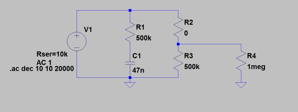 LTspice Siulation Gitarre Frequenzgang Potentiometer Regler Tone Poti Kondensator Widerstand Tonabnehmer Humbucker
