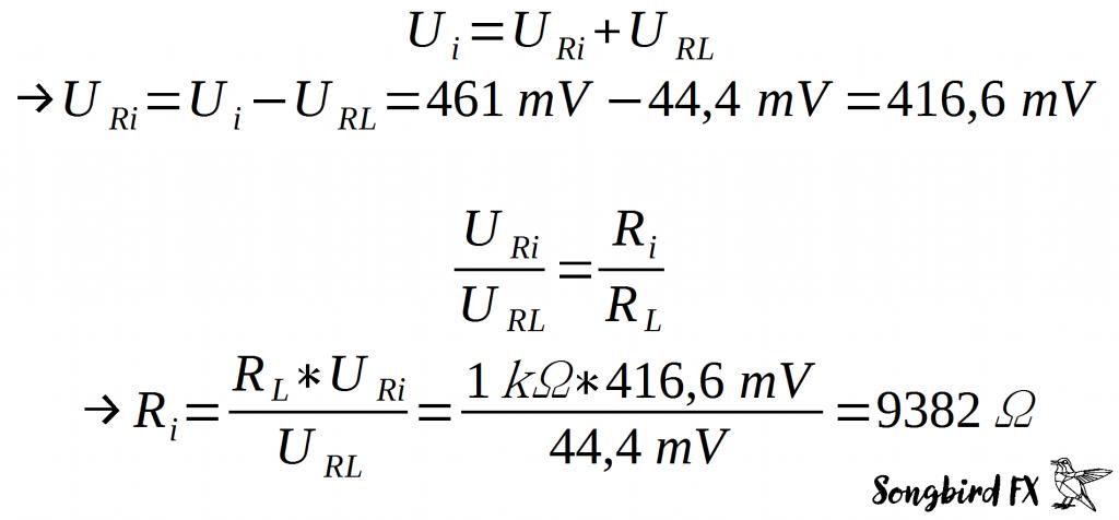 Berechnung Gitarren Ausgangsimpedanz Spannungsteiler Widerstand Formel Rechenweg