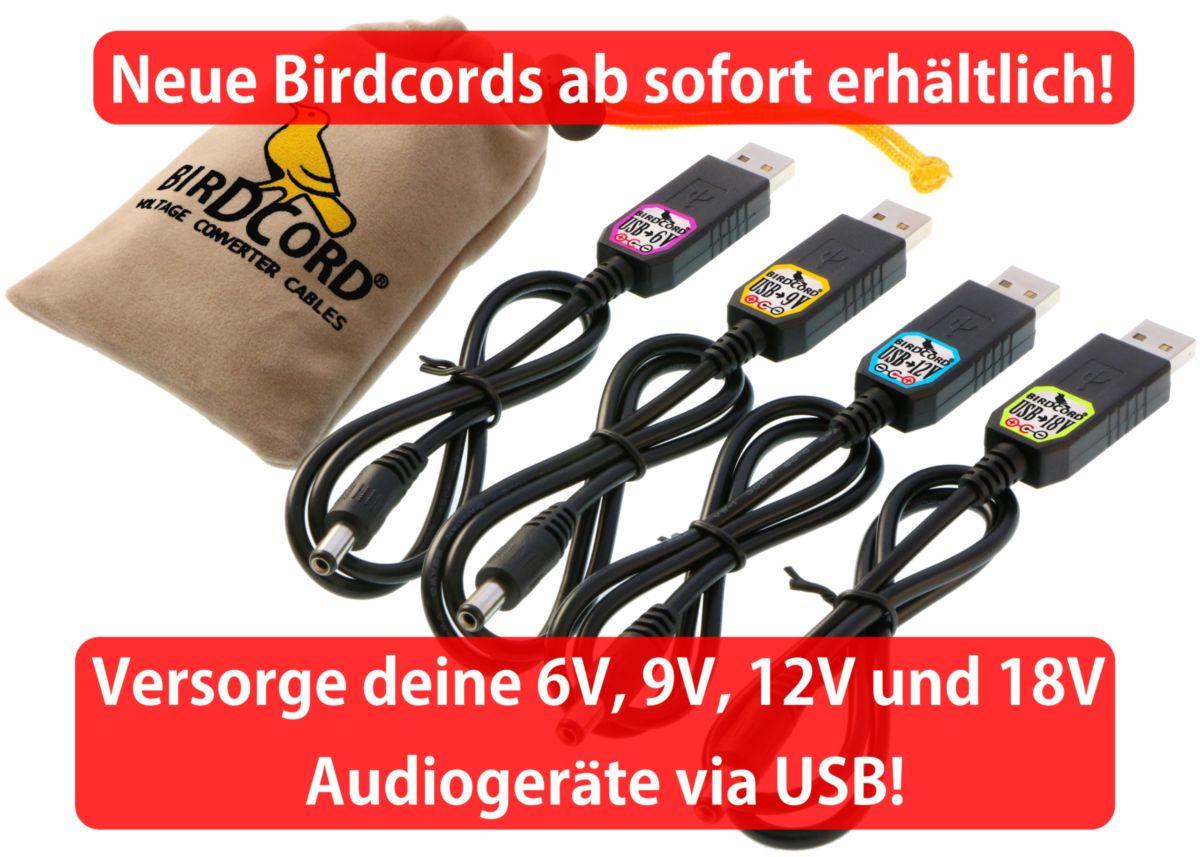birdcord spannungsregler wandler transformator usb kabel 5v 6v 9v 12v 18v volt songbird fx