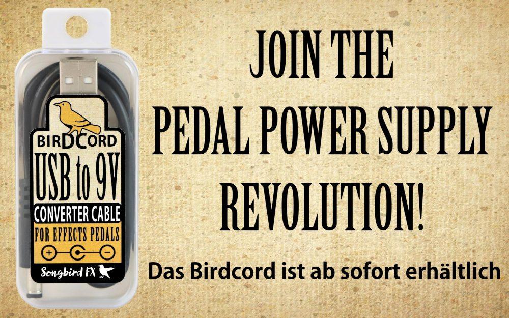 stromversorgung innovation pedal power supply revolution songbird fx birdcord kaufen ab sofort erhältlich