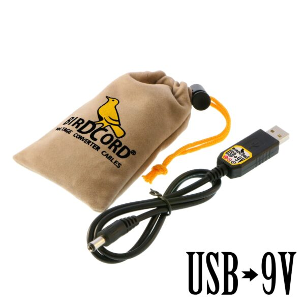 birdcord usb to 9v voltage converter cable step up cable songbird fx songcord 9 volt 9-volt 12v 6v 18v velvet pouch drawstring bag