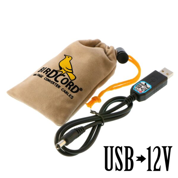 birdcord usb to 12v voltage converter cable step up cable songbird fx songcord 12 volt 12-volt 9v 6v 18v velvet pouch drawstring bag transformer