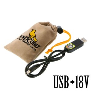 birdcord usb to 18v voltage converter cable step up cable songbird fx songcord 18 volt 18-volt 12v 6v 9v velvet pouch drawstring bag